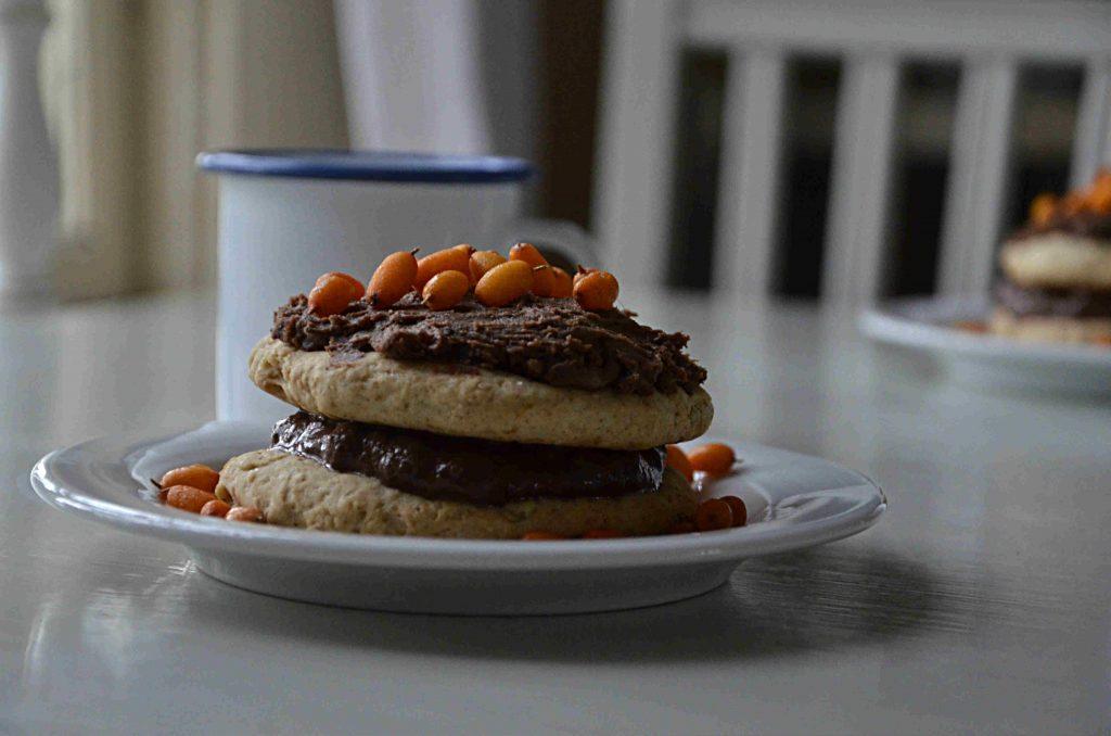 Vegantårta med len choklad