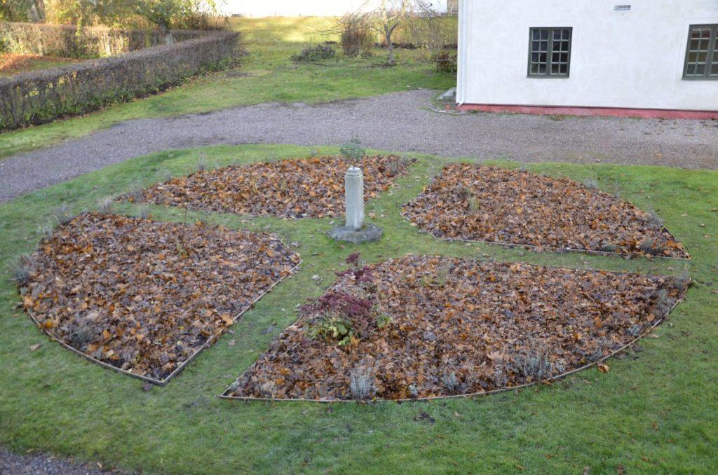 Att täcka med löv. Trädgårdsrundel på Dahlströmska gården vinterbonad med löv.