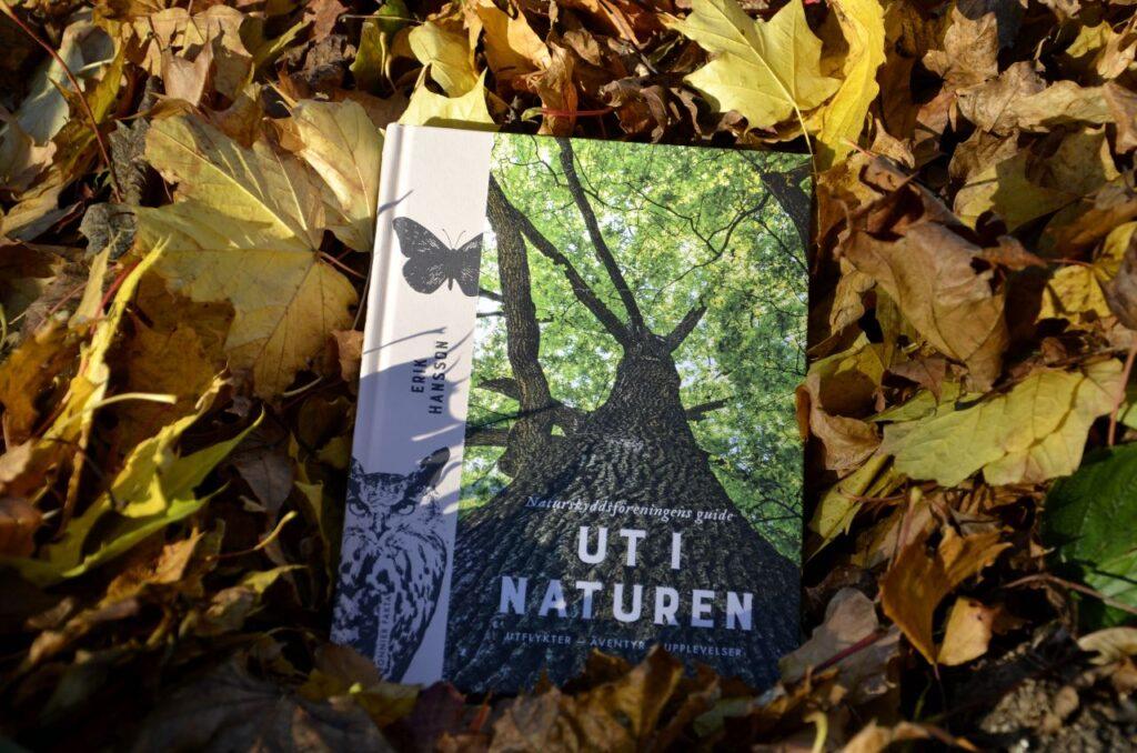 Ut i naturen - inspirerande praktverk. Bild på boken Ut i naturen som ligger i en hög med löv.