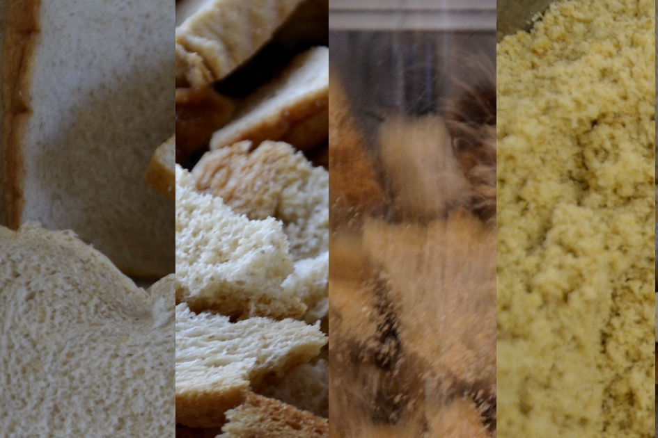 Gör ditt eget ströbröd. Bild som illustrerar processen att göra eget ströbröd. Från gammalt bröd till färdigt ströbröd.
